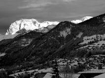 Alpineglow di primo mattino (bianco e nero) Fotografia Stock