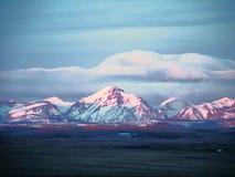 Alpineglow på stigande Wolf Mountain Arkivbilder