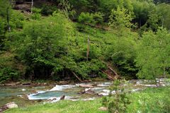 Alpiner Fluss in Nationalpark Ordesa in Aragonien, Spanien Stockbild