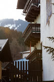 Alpiner Haus Abschluss oben Stockfoto