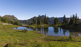 Alpiner See auf Naches-Spitzen-Schleifen-Spur in Mt regnerischeres NP Stockfoto