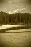 Alpiner See, Sepia getont Stockfotografie
