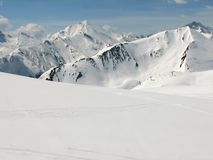 Alpiner Skifahrenbereich Lizenzfreie Stockfotografie