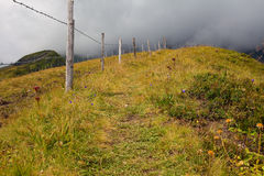 Alpiner wandernder Pfad unter niedrigen Wolken stockbilder