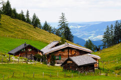 Alpines houses. Scenic images of alpine huts Royalty Free Stock Photo