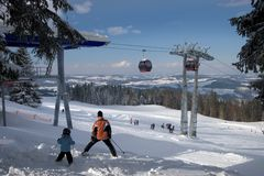 Alpines Skifahren lizenzfreie stockfotos