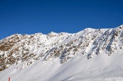 Alpines Skiort in Solden in Otztal-Alpen, Tirol, Österreich Stockfotografie