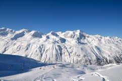 Alpines Skiort in Solden in Otztal-Alpen, Tirol, Österreich Stockbilder