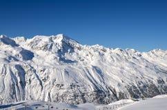Alpines Skiort in Solden in Otztal-Alpen, Tirol, Österreich Stockbild