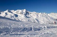Alpines Skiort in Solden in Otztal-Alpen, Tirol, Österreich Stockfotos