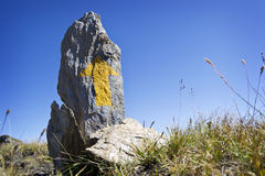 Alpines wanderndes Hinterzeichen Lizenzfreie Stockbilder