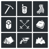 Alpinism. Climbing the Mountain icons set. Vector Illustration. Stock Photography