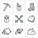 Alpinism. Climbing the Mountain icons set. Vector Illustration. Royalty Free Stock Photo