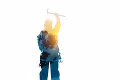 Alpinism sport as concept. Mixed media Royalty Free Stock Image