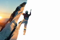 Alpinism sport as concept. Mixed media . Mixed media Stock Photo