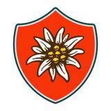 Alpinism van het de bloemsymbool van het edelweissschild het embleem van Duitsland van alpen stock illustratie