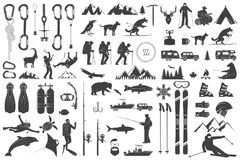 Alpinisme, wandelend, beklimmend, vissend, ski?end en ander avonturenpictogrammen stock illustratie