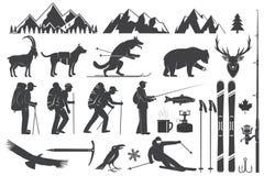 Alpinisme, wandelend, beklimmend, vissend, ski?end en ander avonturenpictogrammen royalty-vrije illustratie