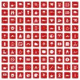 100 alpinismepictogrammen geplaatst grunge rood Royalty-vrije Stock Fotografie