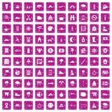 100 alpinismepictogrammen geplaatst grunge roze Stock Foto