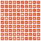 100 alpinismepictogrammen geplaatst grunge sinaasappel Royalty-vrije Stock Foto's