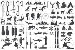 Alpinismo, caminhando, escalando, ícones da aventura pescando, esquiando e outro ilustração stock