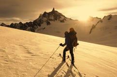 Alpinismo dello sci Fotografie Stock