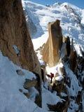 Alpinismo di inverno Fotografie Stock