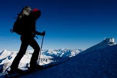Alpinismo di inverno Fotografia Stock