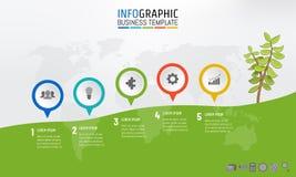 Alpinismo e árvore infographic do molde do marco miliário do negócio com 5 teps, opções, processos Ilustração do vetor ilustração royalty free