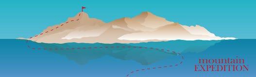 Alpinismo e ilustração de viagem do vetor Ajardine com picos de montanha e molhe o oceano ou o mar, lago extremo Fotos de Stock