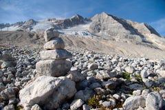 Alpinismo in ghiacciaio di marmolada in dolomia Immagine Stock Libera da Diritti