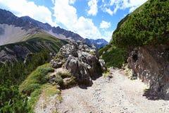 Alpinismo a Hahntennjoch in Austria Immagine Stock