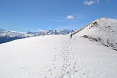 Alpinismo nelle alpi Fotografia Stock