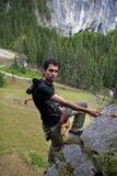 Alpinist - älska fara Arkivbild