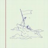 Alpinist с флагом стоковое изображение