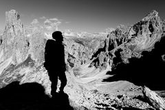 Alpinist in Cadini di Misurina Royalty Free Stock Image