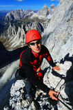 Alpinist in Cadini di Misurina Royalty Free Stock Photography