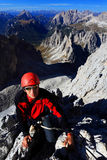 Alpinist in Cadini di Misurina Stock Images