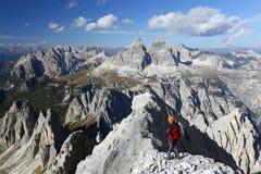 alpinist cadini di misurina Arkivfoto