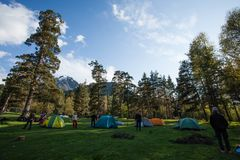 Alpinist camp in Caucasian mountains Royalty Free Stock Images