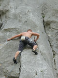 Alpinist, climber, mountaineer. Climber in action on mountain Royalty Free Stock Photography
