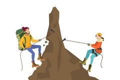 Free Alpinist Couple Climb The Mountain. Extreme Sport Royalty Free Stock Image - 153271696