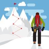 Alpinist in de witte sneeuw mountaint met doel Royalty-vrije Stock Fotografie
