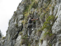 Alpinist equipped. A alpinist win very good equippment Royalty Free Stock Image