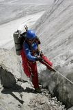 Alpinist on glacier. royalty free stock photo