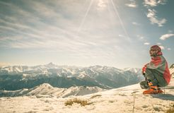 Alpinist on the mountain top Royalty Free Stock Photo