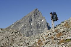 Alpinist in mountains Stock Photos