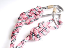 Alpinist rope with carabine Stock Photography