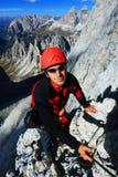 Alpinista in Cadini di Misurina Fotografia Stock Libera da Diritti